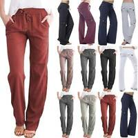 Womens Loose Yoga Cargo Pants Wide Leg Casual Palazzo Sports Pockets Trousers