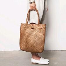 Women's Girl Beach Casual Crew Paper Straw Farmers Tote Bag Shoulder Handbag Bag