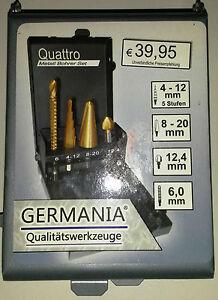 Germania Metall Bohrer Quattro SET,Fräs-,Stufen-,Schälbohrer und Kegelsenker