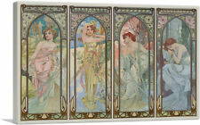 "ARTCANVAS Times of the Day Canvas Art Print by AlphonseMucha 26""x18"" (.75"" Deep)"