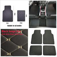 4 Pcs Black PU Leather Car Floor Mat Front Rear Liner Cushions Protector Carpet
