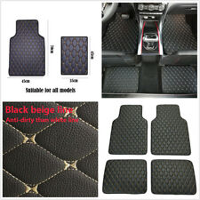 4 Pcs Black PU Leather Car Floor Mat Front Rear Liner Cushions Protector Carpet