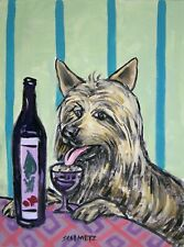 Australian Silky Terrier at the wine bar Dog Art Note Cards