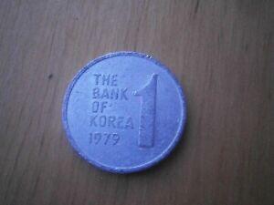 """1979 THE BANK OF KOREA """"1 WON COIN"""" VINTAGE - ALUMINIUM RARE - FREE POSTAGE!!"""