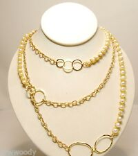 NWT NAKAMOL Goldtone 3 TIER Faux Pearl Link Chain Necklace ~