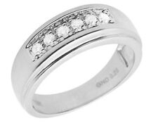 Men's 10K White Gold One Row Real Diamond Engagement Wedding Band Ring 0.25ct