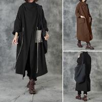 ZANZEA Women Cowl Neck Long Coat Jacket Overcoat Cardigan Casual Loose Outerwear