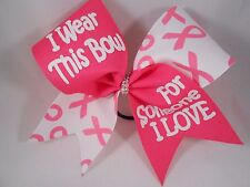 Cheer Bow Pink Breast Cancer Someone I Love by BlingItOnCheerBows