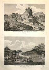 """Eau Forte de LOUIS MASQUELIER,""""Double vue de la Suisse"""" d'aps PERIGNON, XVIIIème"""