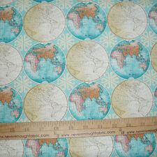 COTTON Fabric Vintage Globes World Map Travel Vacation BTY