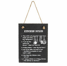 "Slate ""Kitchen Rules"" Wall Plaque (8"" x 6"") on Rope with White Lettering"