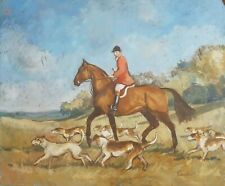 Attractive Exhibited Hunting Scene Original oil on board by Pamela Lander