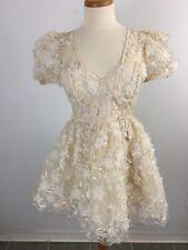 NWT L'atiste by Amy Floral Sheer Sleeve Dress Women's M Medium Cream