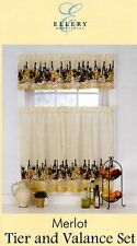 Ellery Homestyles 3-piece Merlot Wine Theme Kitchen Tier & Valance Set - NIP