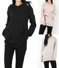 New Women Ladies Distressed Ripped Hole Hoodie Oversized Turnover Jumper Dress