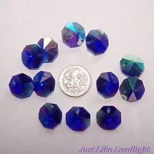10x 14mm OCTAGON CRYSTAL suncatcher beads Agrade ABblue, pendant, craft supplies