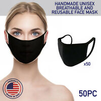 Face Mask Black Reusable 50 Pack Cover Cotton Double Layer Washable Protection