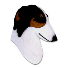 Borzoi Head Plaque Figurine Tri