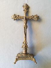 VINTAGE BRASS RENAISSANCE PRIESTS ALTAR TABLE CHURCH CRUCIFIX