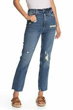 Free People We The Free, High Waist Slim Straight Leg Jeans (Blue, Size 30)