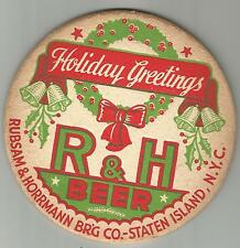 """1940's R&H Beer & Ale Coaster-Staten Island, NY 4"""".Holiday Greetings #013"""