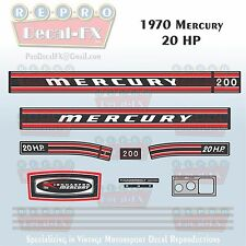 1970 Mercury 20 HP Kiekhaefer Outboard Reproduction 13 Pc Marine Vinyl Decal 200