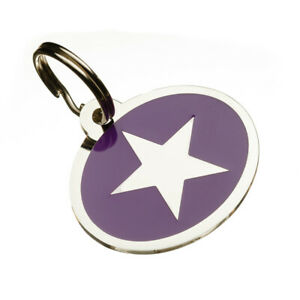 Personalised Engraved Medium Enamel Star Print Pet Id Tags