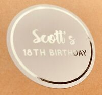 Personalised SILVER Birthday Party Sweet Bag Stickers 18TH 21ST 30TH FOILED
