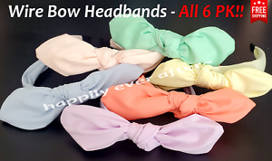6 PCs Headband, Wire Knotted Bow Headband, All 6 Pastel Colors! *US SELLER*