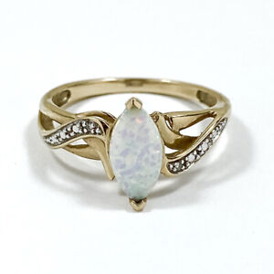 9ct Yellow Gold Ring With Natural Diamonds And Synthetic Opal Size M 1/2