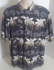 Tommy Bahama Mens Hawaiian Shirt Silk XL Extra Large Black Floral Camp Style SS