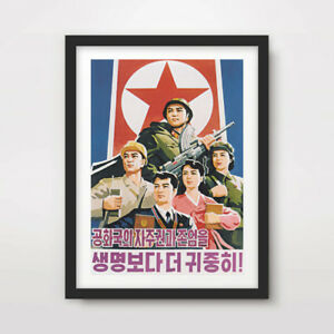 NORTH KOREAN KOREA PROPAGANDA POSTER Art Print Red Star Flag Kim Jong Un