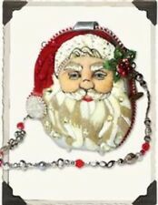 Victorian Trading Co Mary Frances Beaded Swarovski Crystal Santa Purse New