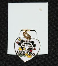 NICE VINTAGE DISNEY MICKEY MOUSE MINNIE MOUSE HEART SHAPED PENDANT CHARM 5/8""