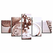 Eiffel Tower Key Chain and Clock 5 Pcs Canvas Wall Home Decor Poster Picture