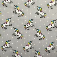 Fat Quarter Childrens Grey Unicorn Print Craft Poly Cotton Quilting Fabric UK