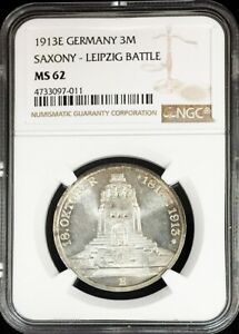 1913 E SILVER GERMAN STATE SAXONY 3 MARK LEIPZIG MONUMENT COIN NGC MINT STATE 62