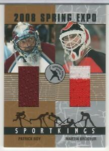 PATRICK ROY & MARTIN BRODEUR 2008 SPORTKINGS SPRING EXPO JERSEYS SILVER 9 MADE