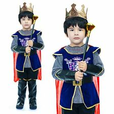 Regal Medieval King Royal Kids Boy Halloween Cosplay Fancy Costume Yr 4-9