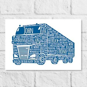 Personalised Lorry Truck Driver Word Art Gift for him Retirement Gift Thank you