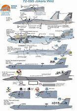 Wolfpak Decals 72-095 Jokers Wild F-15 eagle Northrop Boeing B-52 Growler jet