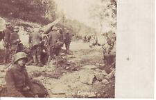 WW1 German Artillery Position Crew Around Gun Horse Soldiers Marching