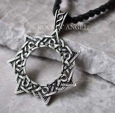 Antique Silver Plt Heptagram Magic Star Pendant Necklace Druid Pagan Faery Elfin