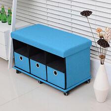 Folding Storage Organizer Ottoman Bench Stool Seat Footrest w/Drawers Wheel Blue
