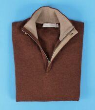 $1295 ERMENEGILDO ZEGNA 100% CASHMERE / LEATHER 1/2 Zip Sweater - 52 L
