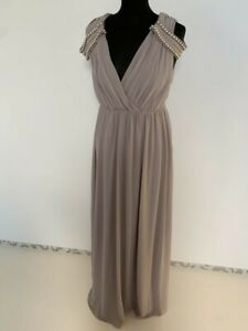 TFNC ASOS Long Evening Dress Wedding Bridesmaid Beaded Gray Elegant S- M