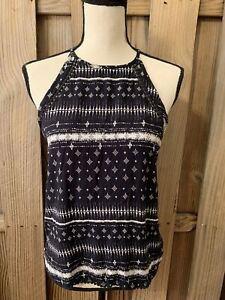 MUDD Black White Sleeveless Strappy Lace Tank Top Camisole Geometric Size S