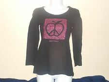 Apple Bottoms Peace Sign Glittery T-Shirt Juniors Medium