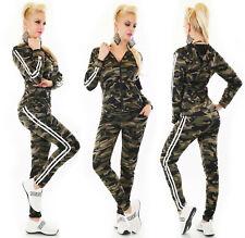 Set tuta donna cappuccio zip felpa pantaloni bande sport workout homewear nuova