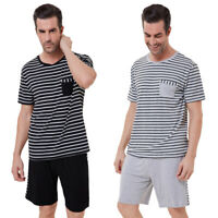 Men's Casual Striped Short Sleeve Crew Neck Sleep T-Shirt Top Shorts Pajama Sets